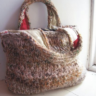 Chunky hand knitted, lined tote bag - Harvest