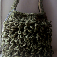 "Chunky hand knitted ""Loopy"" tote bag in olive green - Lichen"