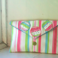 Soft fabric clutch bag in seaside stripes - Carnival