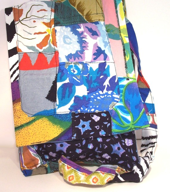 Bali - small patchwork messenger bag in multicoloured recycled cotton