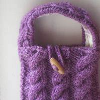 Soft hand knitted cable stitch bag in soft heather purple, lined - Mull