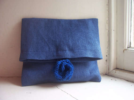 Soft foldover clutch bag in blue linen with rose fastening - Kate