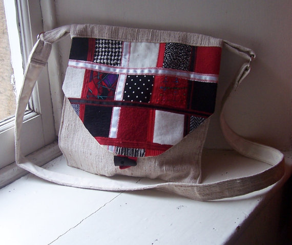 Fabric shoulder bag with patchwork textile flap - Winter