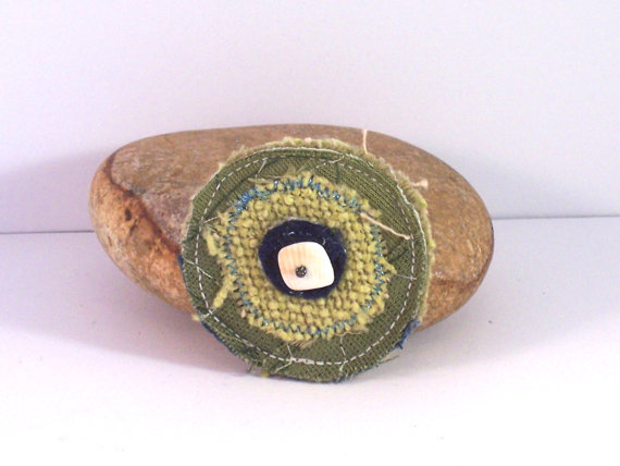 Pluto - textile brooch in green and blue