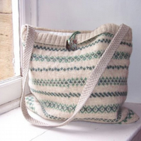 Hand knitted, pure lambswool, shoulder bag - Fairisle