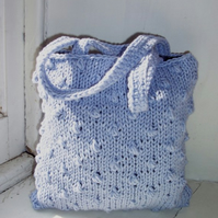 Small hand knitted bag in pale lilac - Bramble