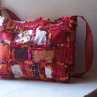 Textile art recycled fabric shoulder bag - VESUVIUS