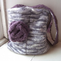 Soft hand knitted shoulder bag in grey and purple - Adelaide