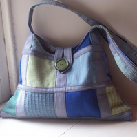 Soft textile shoulder bag in grey, blue and soft green - Lochan