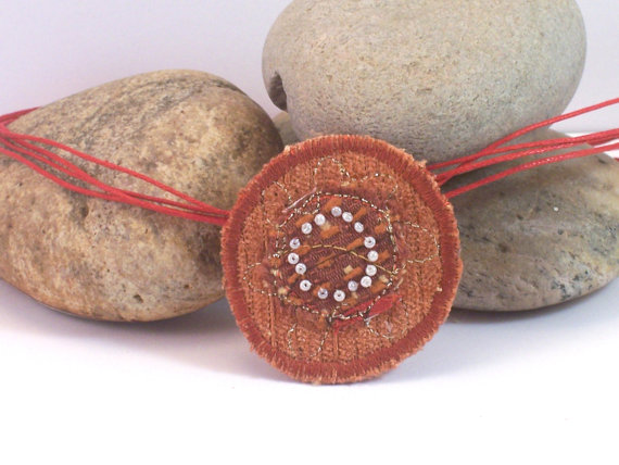 Fabric necklace with embroidery and beads - Ganymede