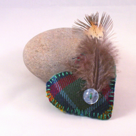 Wool tartan heart shaped brooch with feather cockade - Glenfiddich
