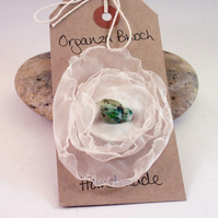 Hand stitched organza and shell brooch - Perseus