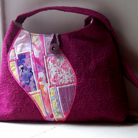 Soft fabric shoulder bag in magenta and pink - Seonaid
