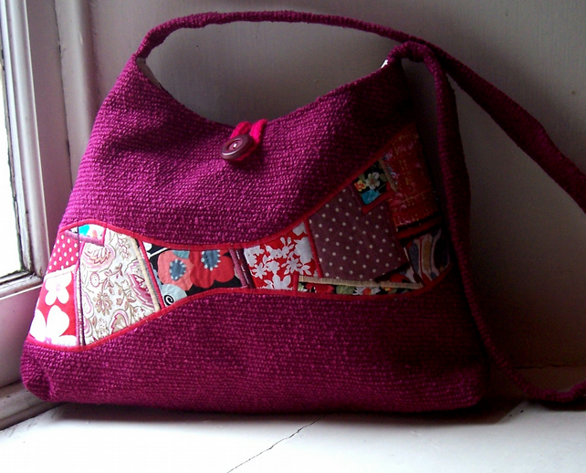 Soft textile handbag in magenta, red and pink - Morven