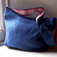 Beautiful blue linen and pink gingham shoulder bag - Doris