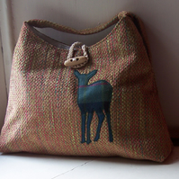 Fabric shoulder bag with watchful deer applique in tartan - Ben Cruachan