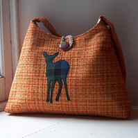 Fabric shoulder bag with watchful deer applique - Creag Mhor