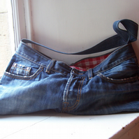 Soft denim shoulder bag, made from designer jeans - Boss