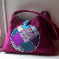 Patchwork and embroidered handbag - Iona