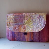 Textile art clutch bag - Monet