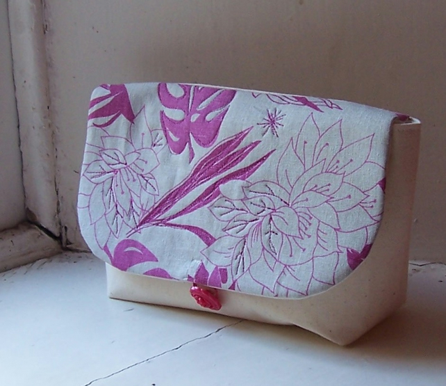 Soft linen machine embroidered clutch bag in cream and pink - Java