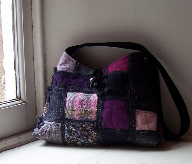 One of a kind textile art shoulder bag in purple and black - Sloe