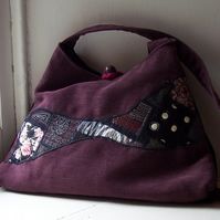 Soft textile handbag in pink, black and purple - Mulberry