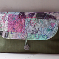 Textile art clutch bag in lilac, pink and green - Seaglass