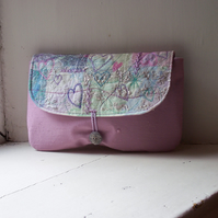Hand and machine embroidered fabric clutch bag - Myrtle