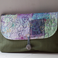 Textile art clutch bag with button and loop fastening - Wild Thyme