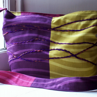 Soft textile zip fastening shoulder bag in purple, yellow and pink - Runrig