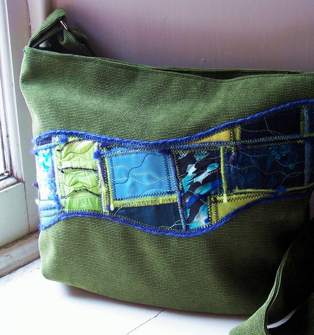 Fabric shoulder bag in forest green, blue and lime - Tentsmuir