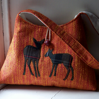 Fabric shoulder bag with two deer appliques - Carn Dearg