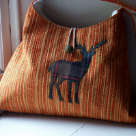 Orange fabric shoulder bag with tartan stag applique - Ben Macdui