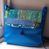 Fabric shoulder bag with mixed textile flap - Montpellier