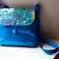 Messenger bag, shoulder bag, turquoise satin with textile art flap - Marseille