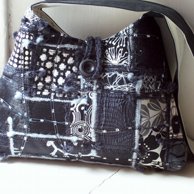 Fabric shoulder bag with mixed textile front and machine embroidery - Hirta