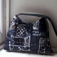 Hirta - textile art shoulder bag in black, grey and white