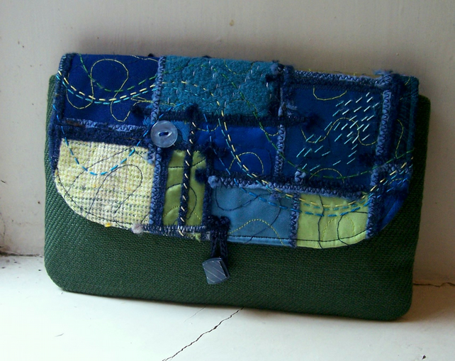 Clutch bag with unique created-textile panel - Fidra