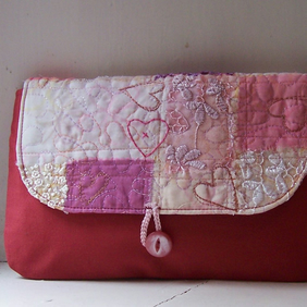 Soft fabric clutch bag with hand and machine embroidery - Barra