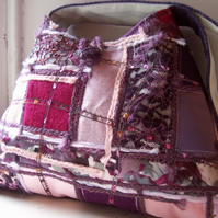 Soft textile shoulder bag in pink, plum and purple - Brora