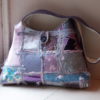 Soft textile shoulder bag in pink, lavender and duck egg - Applecross