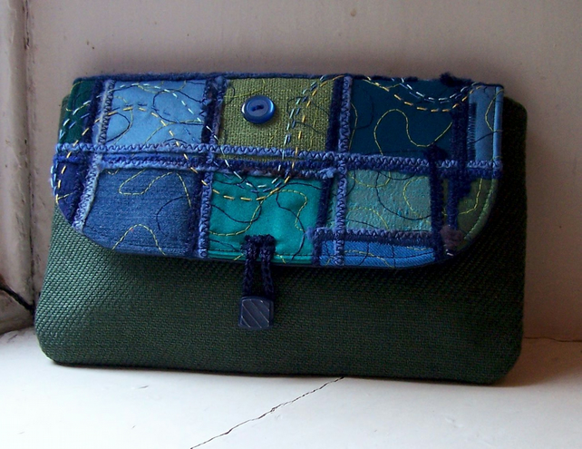 Textile art clutch bag with hand and machine embroidery - Inchcolm