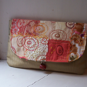 Clutch bag with embroidered and appliqued detail - Tiree