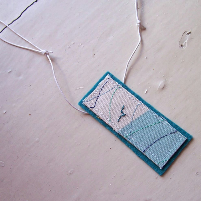 Embroidered ocean themed textile necklace - Gull