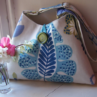 Soft textile shoulder bag in white, lime, blue and turquoise - Torryburn