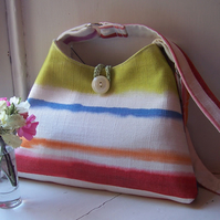 Soft summery textile shoulder bag - Sunset
