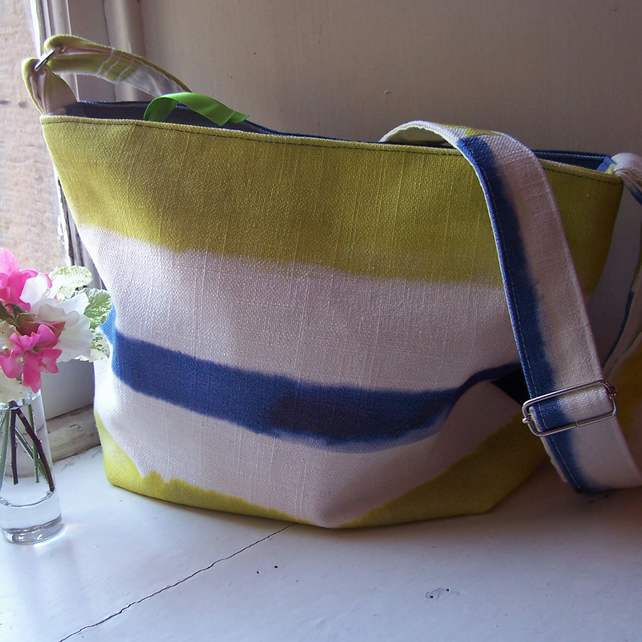 Fabric shoulder bag in white, blue and lime - Forth