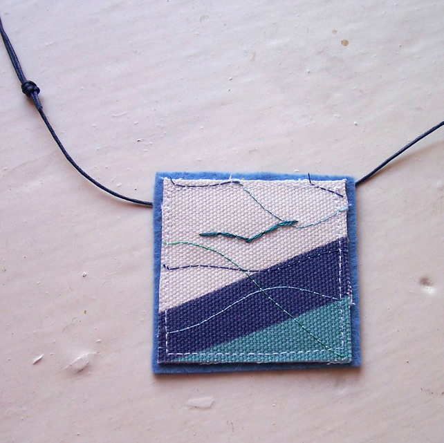 Textile necklace with hand and machine embroidery - Albatross