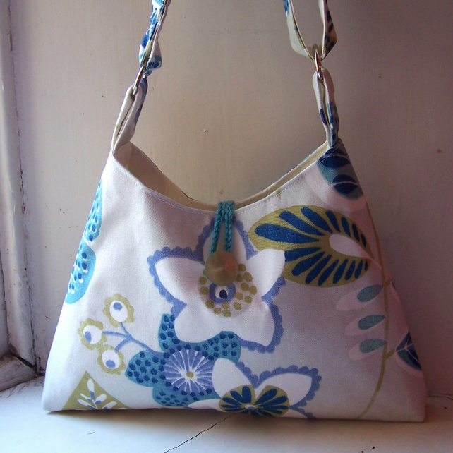 Textile shoulder bag in white, lime, blue, grey and turquoise - Charlestown